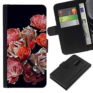 A-type (Spring Begonia Black Red Pink Flowers) Colorida Impresión Funda Cuero Monedero Caja Bolsa Cubierta Caja Piel Card Slots Para LG G3