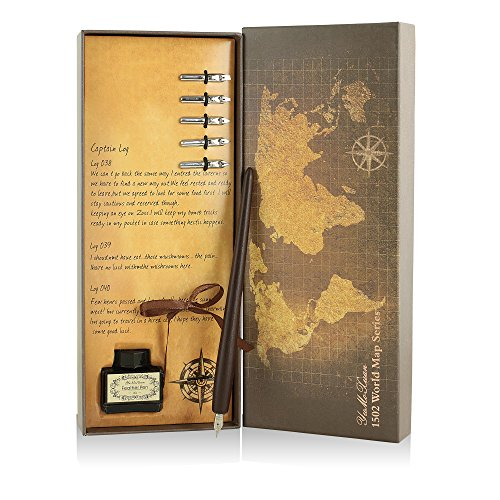 (Out of The Tool Box Wooden Calligraphy Set | Improve Handwriting and Create Written Works of Art | 6 Dip Pen Tips (Including Ballpoint), Inkwell, and Vintage World Map Box)