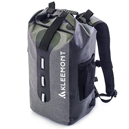 RollTop Waterproof Backpack Water Resistant Dry Bag - Padded Shoulder Straps and Splash Proof Cell Phone Pocket for Kayaking, Boating, Hiking, Cycling, Camping, Fishing, Rafting and All Outdoor & Wate by Kleemont