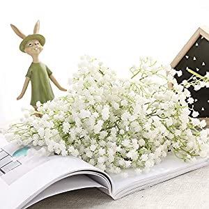 JUSTOYOU 10pcs Artificial Babies Breath Flowers Fake Gypsophila PU Silica for Wedding Bridal Bouquet Home Floral Arrangement White (White 21.7 in) 4