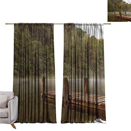 zojihouse LandscapeThermal Insulated Room Blackout Curtains Pier in Lake Trees Forest W120xL82 ()