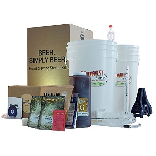 (Midwest Supplies Beer. Simply Beer. - HomeBrewing Beer Brewing Starter Kit - 5 Gallons Beer Making Pale Ale Recipe Kit With 6.5 Gallon Fermenting Bucket Equipment)
