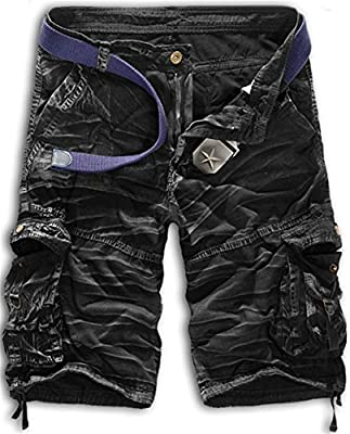 K3K Men's Cotton Multi Pocket Twill Cargo Outdoor Wear Lightweight Camo Shorts