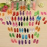 CAMTOA® 40 Paires Chaussures Botte Sandale Multicolore Pour Poupée Barbie Cadeau