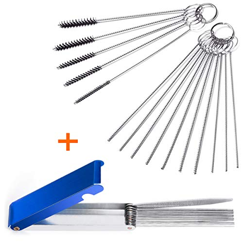 Set of 2 Carburetor Carbon Dirt Jet Remove Cleaner 13 Cleaning Wires Set + 10 Cleaning Needles + 5 Nylon Brushes Tool Kit for Motorcycle ATV Moped Welder Carb Chainsaw -