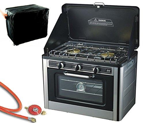NJ CO-01 Camping Gas Oven & Kookplaat Draagbare RVS Kachel 2 Pits Met Draagtas Outdoor + Propaanregelaar Set