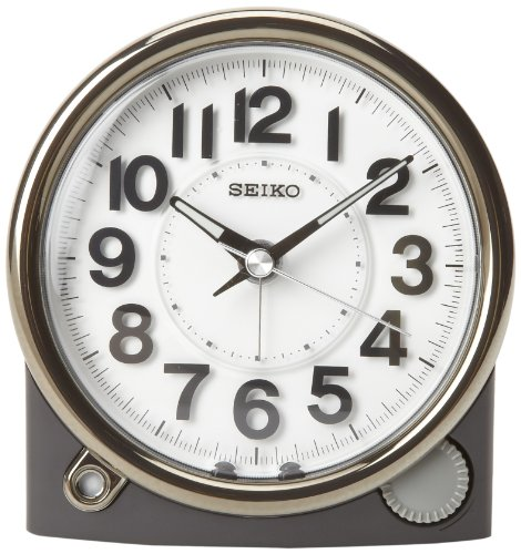 - Seiko Bedside Alarm Clock Black Case with Silver-Tone Trim