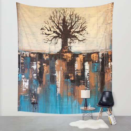 abstract tree landscape wall tapestry teal and brown wall d cor handmade. Black Bedroom Furniture Sets. Home Design Ideas
