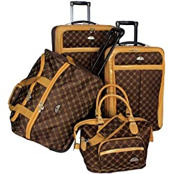 American Flyer Luggage Signature 4 Piece Set, Chocolate Gold, One Size