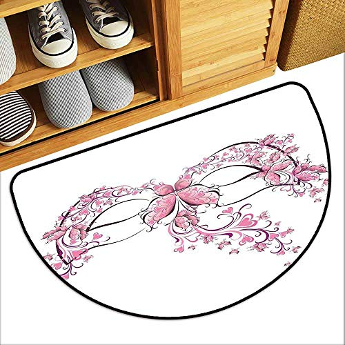- DILITECK Door mat Customization Masquerade Masks Carnival Dress Centuries Old Tradition of Venice Theme Design Print Quick and Easy to Clean W30 xL18 Pink and White