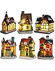Tongina 6/Set Hand-Painted Tabletop Christmas Village Countryside Town Farhouse Miniature LED House Christmas Festival Decors