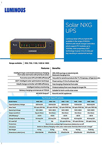 Luminous NXG1100 + LPTT12150H 150Ah 1No + 160Watts Solar