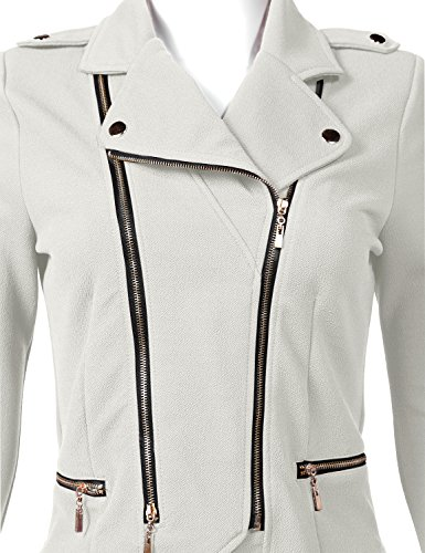 Luna Flower Women's Stylish Long Sleeve Double Zip Moto Jackets OFFWHITE Large (GJAW136) by Luna Flower (Image #3)