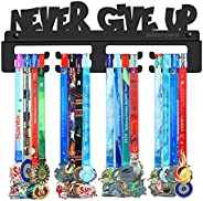 BORNTOWIN Never Give Up Medals Holder Display Hanger Rack Frame,Black Sturdy Steel Metal,Easy to Install Wall