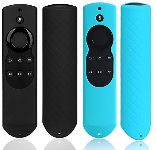 BlueBeach Pack of 2 Silicone Protective Case Skidproof Protector Shockproof Protection Cover with Lanyard for Alexa Voice Remote Controller Fire TV and Fire TV Stick (Black and Blue)