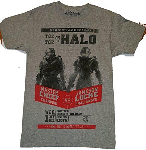 Halo 5 Challenge Master Chief Vs Jameson Locke Graphic Mens T-shirt Grey