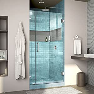 "DreamLine Unidoor Lux 36 in. Width, Frameless Hinged Shower Door, 3/8"" Glass, Chrome Finish"