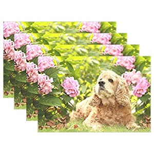 English Cocker Spaniel Dog Flower Polyester Heat Resistant Washable Kitchen Table Mats Easy to Clean Placemats for Dining Table Set of 4 32