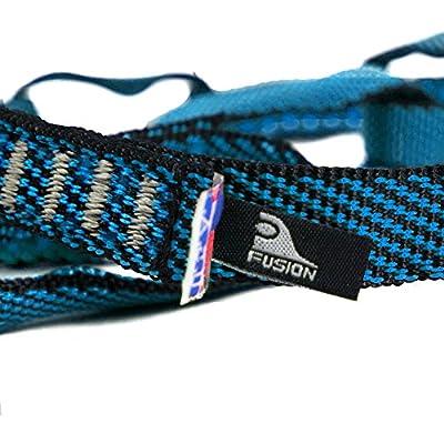 "Fusion Climb 12 Loop Individual Loop Daisy Chain 5000 lb Test Stitched Nylon Webbing 45"" x 0.75"" Blue/Black"