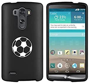 LG G4 Snap On 2 Piece Rubber Hard Case Cover Soccer Ball (Black)