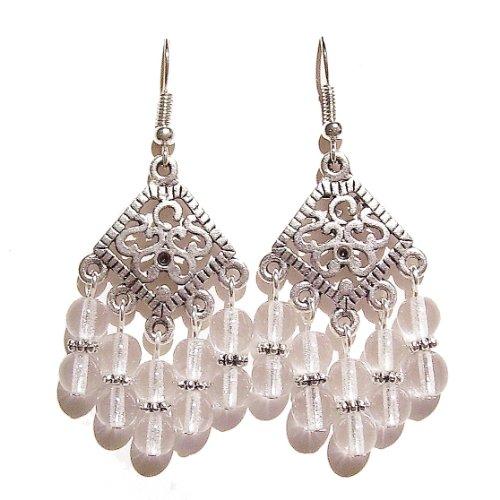 Boucles D'oreilles D'argent Ancien - Chandeliers avec Perles Transparents Tchèques