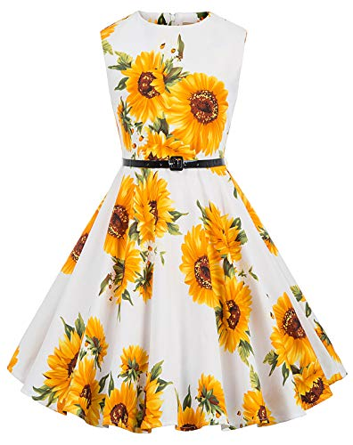 Kate Kasin Girls Sleeveless Vintage Print Swing Party Dresses 6-15 Years (9-10 Years, K250-28)