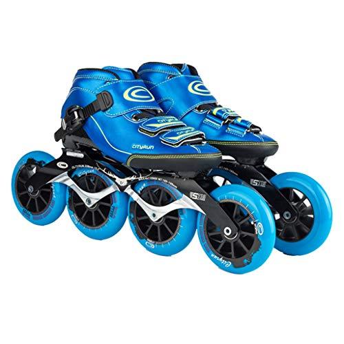扇動フォルダミルクLIUXUEPING ローラースケート、 スケート、 プロのスピードスケートシューズセット、 レーシングシューズ、 子供のプロのローラースケート (色 : 青, サイズ さいず : 37)
