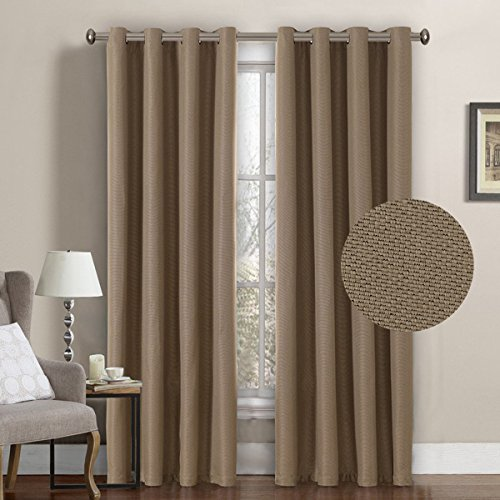 H.VERSAILTEX Window Treatment Grommet Faux Linen Blackout Curtains 96 Inches Long for Living Room Thermal Insulated Room Darkening Textured Linen Curtains for Bedroom 96 Inches, Prairie Sand, 1 Panel