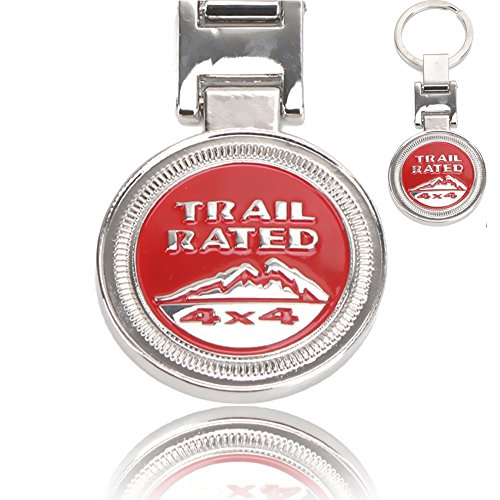 JEEP Gifts and Souvenirs KeyRing KeyChain , Metal Red 3D Trail Rate 4x4 Souvenirs Badge CJ JK TJ YJ XJ - Fulfilled by Amazon - -