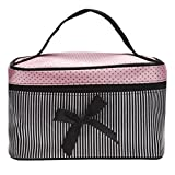 Clearance! Cosmetic Bag, Stripe Bowknot Portable Large Travel Toiletry Bag Makeup Case Organizer Storage (B)