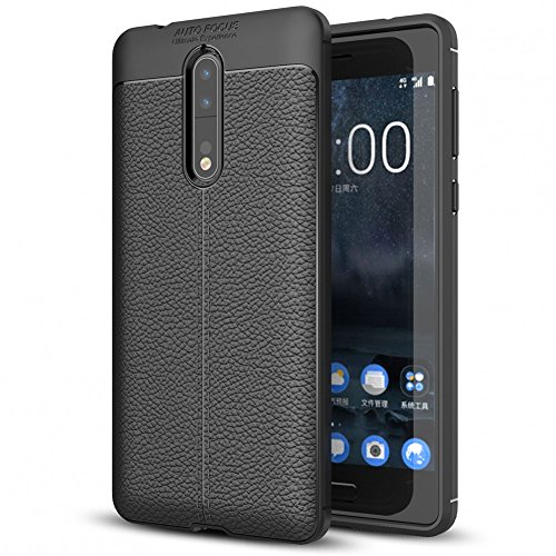 NALIA Leather Look Case for Nokia 8, Ultra-Thin Protective Phone Cover Rubber-Case Premium Gel Soft Skin, Shockproof Slim Silicone Back Bumper Protector Back-Case Shell for Nokia-8 Smartphone - Black