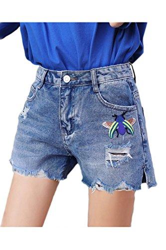 Fanvans Mujeres Jeans Rasgados Cortos Cortar El Tramo Recto Denim Pantalones Cortos Azul