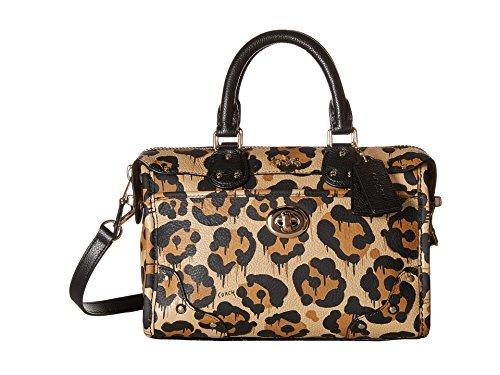 COACH Women's Leopard Ocelot Print Rhyder 24 Satchel LI/Wild Beast Cross - Print Coach Bag Animal