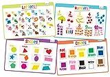 Educational Kids Placemats Set of 4: Alphabet, Numbers, Shapes, Colors - Bundle - Non Slip Washable