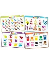 merka Educational Kids Placemats - Set of 4: Alphabet, Numbers, Shapes, Colors - Bundle - Non Slip & Washable