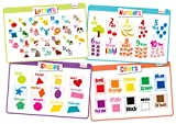 merka Educational Kids Placemats - Set of 4: Alphabet, Numbers, Shapes, Colors - Bundle - Non Slip & Washable
