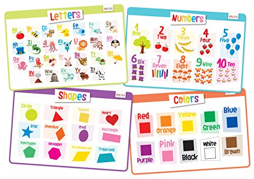 Chart Making Words Mat - merka Educational Kids Placemats - Set of 4: Alphabet, Numbers, Shapes, Colors - Bundle - Non Slip & Washable