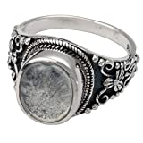 Memorial Gallery 2004Bs-6 Antique Sterling Silver Ring with Clear Glass Front Cremation Pet Jewelry, Size 6