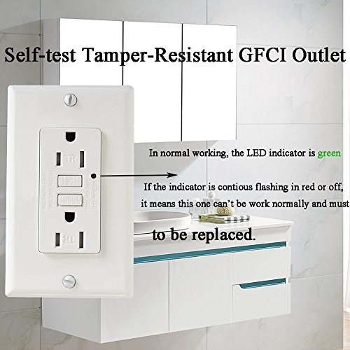 LEOD 15A 125V Self-Testing GFCI Outlet with green led indicator light, 4 Pcs Free WallPlate and Screws Included, Tamper-resistant Auto-test GFCI socket, White, ETL Listed (2 PACK) by LEOD (Image #2)