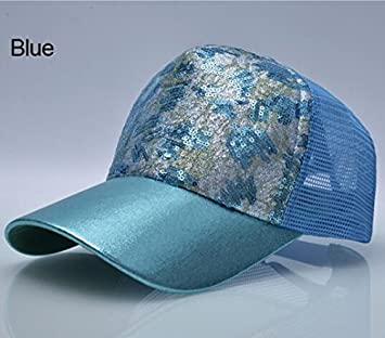 QYYDBQM Sombreros Casuales para Mujer Lentejuelas Flashes 5 Panel ...