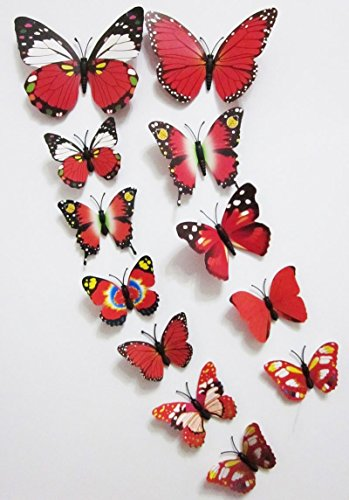 12 Pcs 3D Butterfly Wall Stickers Art Decor Decals(12Pcs Red) (Ca Qq compare prices)