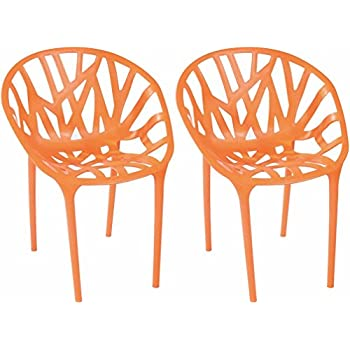 Mod Made Branch Cut Out Dining Chair Stackable, Orange, Set Of 2