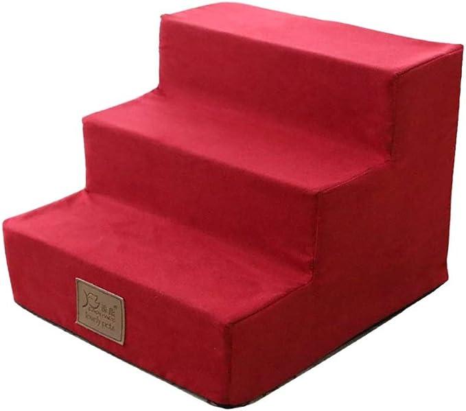 Taburete de escalera ZCJB Escalera Roja For Mascotas Escalera Interior De Tres Escalones For Perros Pequeños Al Sofá, Taburete De 3 Peldaños con Funda Lavable, Altura De 30 Cm Taburete: Amazon.es: Hogar
