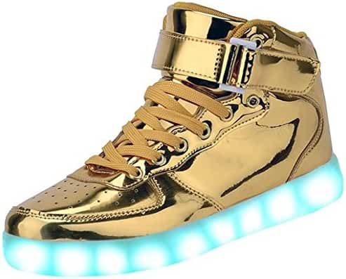 GreatJoy Kids/Adults Cool Gift Gold Light Up LED Shoes/Sneakers 7 Color Flashing Pattern USB Charging