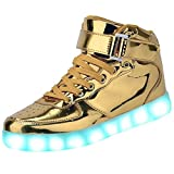 Fashion High Top LED Shoes Light Up Sneaker 7 Color Flashing / USB Charge / Halloween/Christmas/Thanksgiving Gift(8.5B(M)US-women/ 7D(M)US-men, Gold)