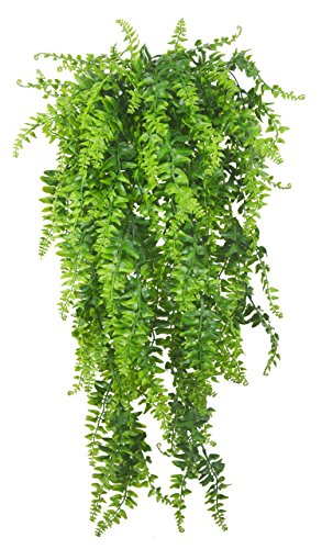 Artificial Plants Vines Fern Persian Rattan Fake Hanging Plant Faux Hanging Boston Ferns Flowers Vine Outdoor UV Resistant Plastic Plants Wall Indoor Hanging Baskets Wedding Garland Decor-2 pcs