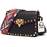 Yoome Mini Crossbody Bag Designer Clutch for Women Rivets Bags with Colorful Strap Cowhide Leather Shoulder Bag for Girls - Black