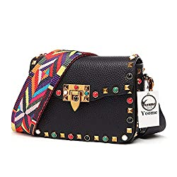 Yoome Mini Crossbody Bag Designer Clutch For Women Rivets Bags With Colorful Strap Cowhide Leather Shoulder Bag For Girls Black