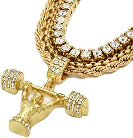 L /& L Nation 14k Gold Plated Hip Hop Fully CZ Gold $ Pendant with 4 mm 30 Franco Chain