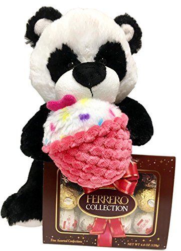 12 Inch Plush Panda Teddy Bear With Cupcake, Ferrero Rocher Assorted Chocolates - Valentine, Get Well, Birthday Gift (Black Panda)
